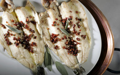Roasted trout with pancetta and sage