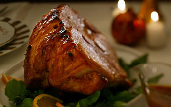 Chipotle- and orange-glazed ham