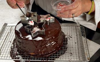 Chocolate cake with whipped chocolate mint ganache