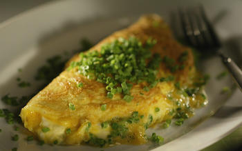 Chive omelet with goat cheese
