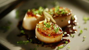 Seared scallops with ponzu, ginger and chives