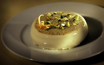 Meyer lemon and pistachio panna cotta