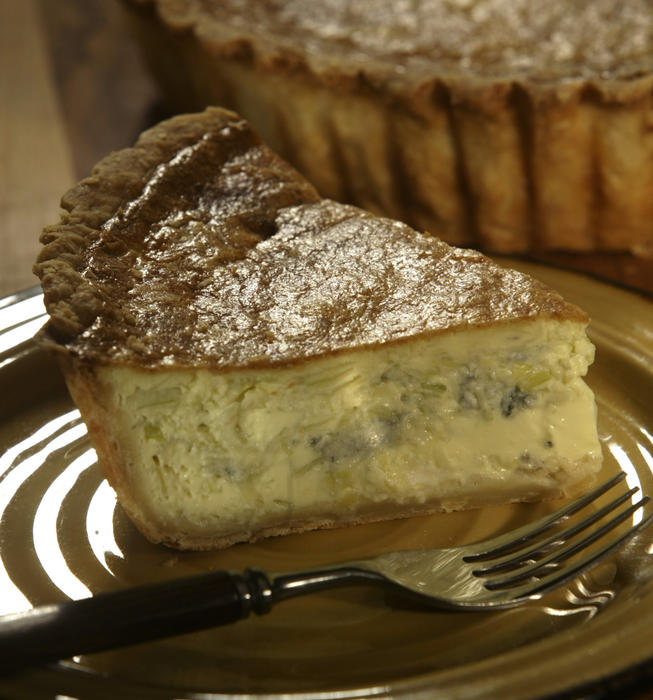Roquefort and leek quiche