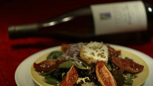 'Midlife Crisis' salad of goat cheese, hazelnuts and red onion