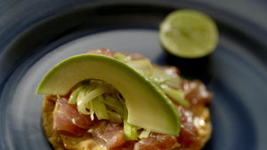 Contramar tuna tostadas with chipotle mayonnaise