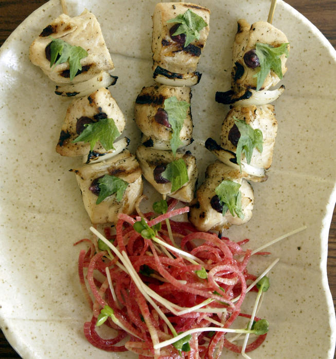 Chicken kushiyaki with umeboshi and shiso