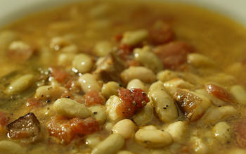Beans with lardons and sage