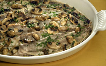 Rex sole baked with mushrooms and cream