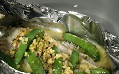 Rex sole and sugar snaps steamed in foil