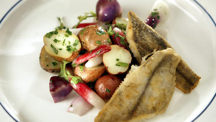 Sauteed rex sole with spring vegetable salad in bacon vinaigrette