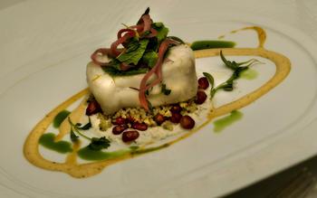 Cold-poached halibut with coriander-cucumber yogurt