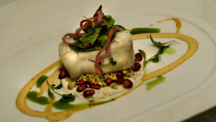 Cold-poached halibut with coriander-cucumber yogurt