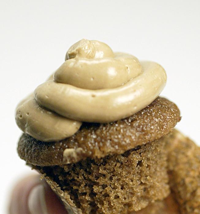 Mini espresso cupcakes with chocolate ganache and espresso buttercream