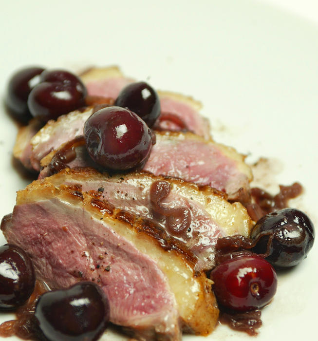 Duck breasts with pan-roasted cherries