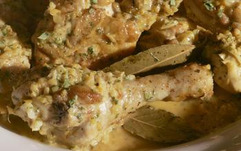 Chicken in garlic and wine sauce