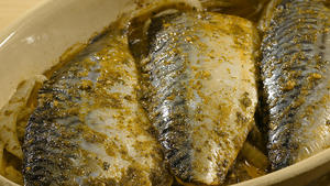 Baked mackerel in charmoula