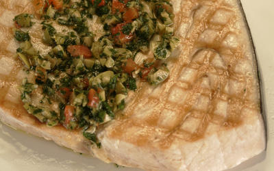 Swordfish with green olive salsa