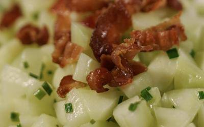 Sauteed cucumbers with pancetta