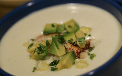 Chilled corn soup with avocado and crab