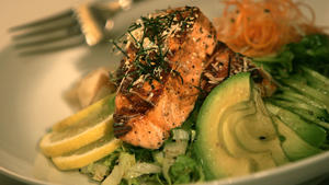 Japanese barbecue salmon salad