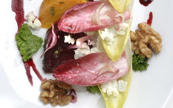 Roasted beets with Cabrales blue cheese, endives and walnuts