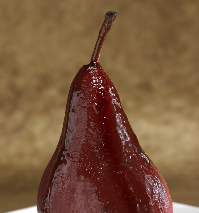Poached pears with red wine caramel sauce