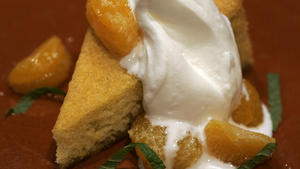 Olive oil cake with creme fraiche and candied tangerines