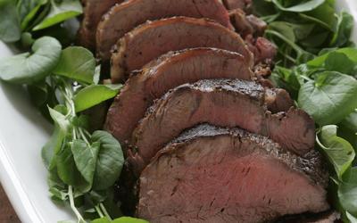 Roast tenderloin of beef with horseradish creme fraiche