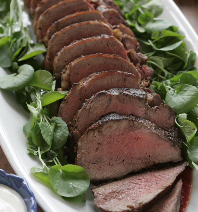 Roast tenderloin of beef with horseradish creme fraiche