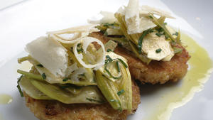 Shaved baby artichoke salad with risotto cakes
