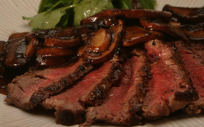 Steak au poivre with portabello sauce