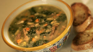 Flageolet bean, kale and duck soup