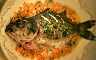Striped bass with mirepoix