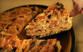 Tomato-mozzarella tagliatelle timballo