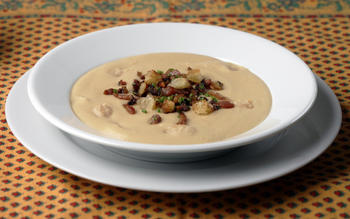 Creamy bean soup with croutons and crispy ventreche
