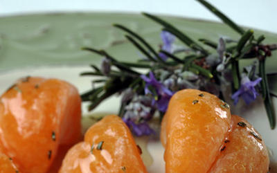 Mandarins with rosemary honey