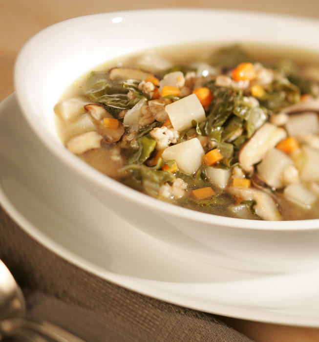 Mushroom, barley and Swiss chard soup