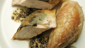 Roast chicken with truffles and truffle butter