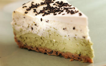 Layered green tea and black sesame cheesecake