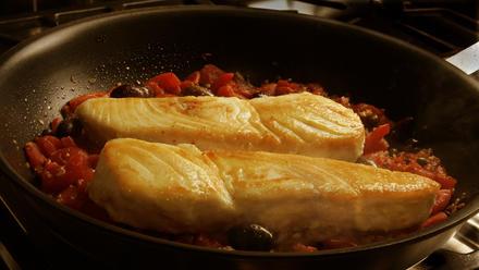 Quick halibut Provencal