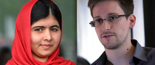 A combination of images shows Malala Yousafzai (L), the 16-year-old Pakistani advocate for girls education who was shot in the head by the Taliban in 2012, posing on September 3, 2013 in Birmingham, and a still frame grab recorded on June 6, 2013 of Edward Snowden, the U.S. contractor who revealed widespread spying by the United States, during an interview with The Guardian newspaper. Malala Yousafzai and Edward Snowden have been nominated for the European Parliament's prestigious Sakharov human rights prize.