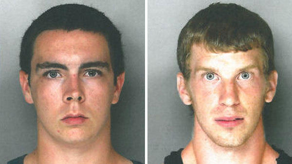Perkasie police have charged Cody Wagenseller, left, and Adam Keith Weaver with setting a fire at an abandoned factory.