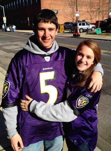 Brandon Sacks (left) and his sister, Morgan, at last year's Ravens vs. Giants game.