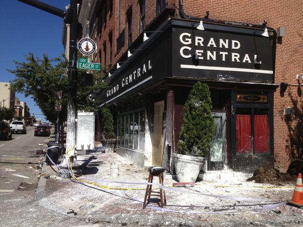 The scene outside Grand Central after a crash spilled paint and damaged the outdoor patio.