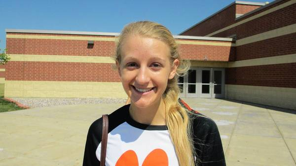 Plainfield East Middle hitter Abbey Warke