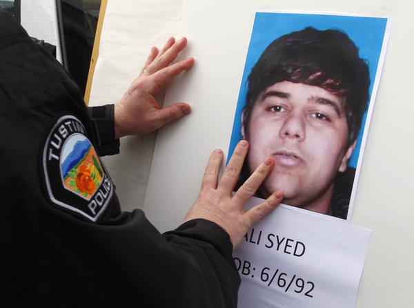 Police post a picture of freeway shooting suspect Ali Syed, whose mother is now on trial for hit-and-run driving.