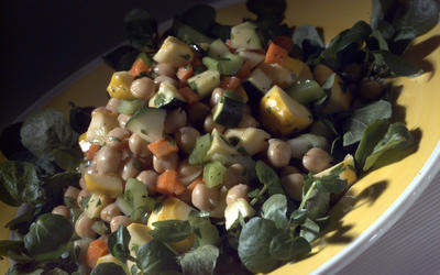 Garbanzo and fresh vegetable salad