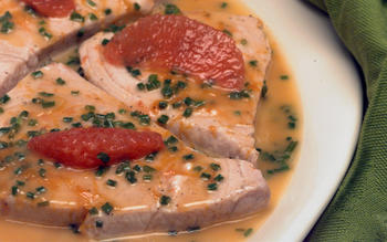 Swordfish poached in grapefruit juice