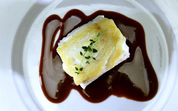 Sauteed halibut with beurre rouge