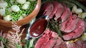 Roast Lamb With Fresh Peas and Turnips